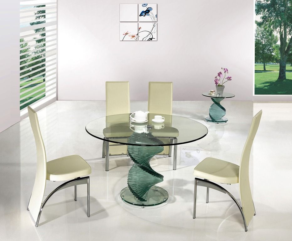 Twirl Glass Round Dining Table