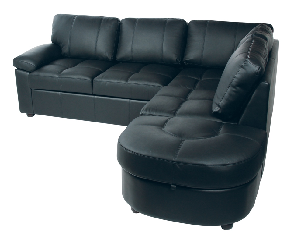 Lina Leather Corner Sofabed Black+ Storage Left Hand Foot ...