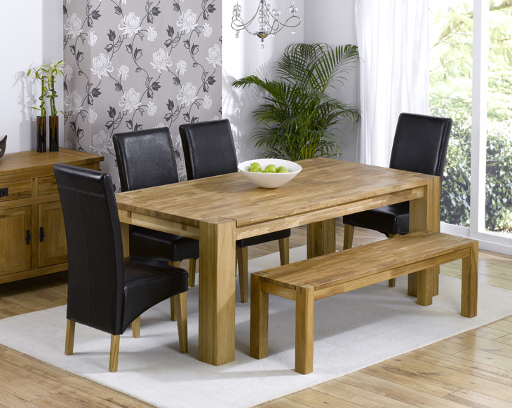 Marseille Oak Dining Table Plus 1 Bench And 4 Chairs Larger Image