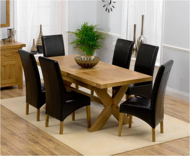 Antwerp Oak Extending Dining Table 160cm + 6 Roma Leather Chairs Larger  Image
