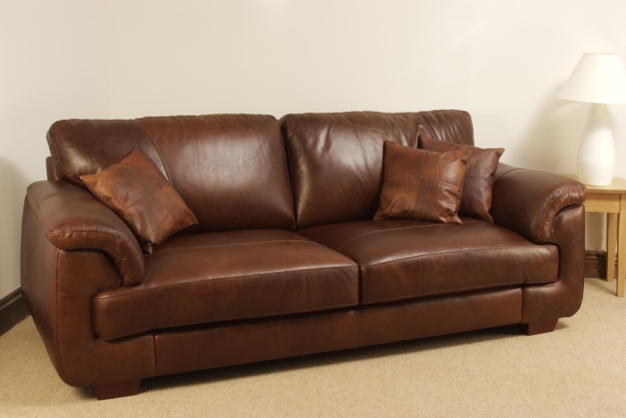 Isabella Leather Sofa - 3 Seater - Brown Analine Leather Isabella ...